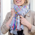 Lisa Angel Ladies' Rainbow and Grey Tartan Blanket Scarf