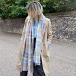 Personalised Embroidered Rainbow and Grey Tartan Blanket Scarf on Model