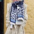 Lisa Angel Ladies' Reversible Blue Star Blanket Scarf on Model