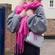 Soft Oversized Scarf in Fuchsia on Model