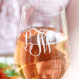 Personalised Engraved Monogram Wine Glass
