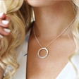 Personalised Silver Eternity Hoop Necklace on Model