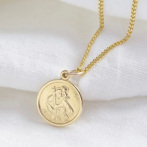 Gold Sterling Silver St Christopher Disc Pendant Necklace