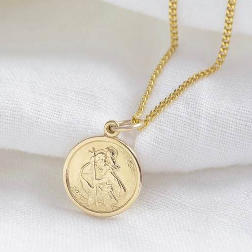 e1064f63e1e Lisa Angel Hypoallergenic Personalised Gold Sterling Silver St Christopher  Pendant Necklace