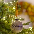Lisa Angel Gold Personalised Name Glitter Christmas Bauble