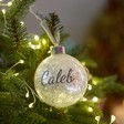 Lisa Angel Christmas Personalised Silver Name Glitter Bauble