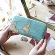 Ladies' Sass & Belle Blue 'Big Adventures' Map Wallet at Lisa Angel