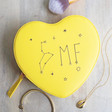 Teen's Personalised Constellation Heart Travel Jewellery Case in Yellow