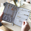 Inside of Teen's Grey Personalised Starry Initials Travel Jewellery Wallet