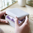 Lisa Angel Square Travel Jewellery Box in Grey and Purple