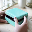 Ladies' Square Travel Jewellery Box in Mint Green and Navy