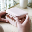 Lisa Angel Square Travel Jewellery Box in Pale Pink