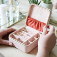 Ladies' Inside of Square Travel Jewellery Box in Pale Pink
