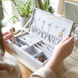 Inside of Personalised Large Jewellery Box in Grey