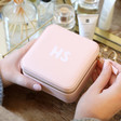 Pale Pink Personalised Block Initials Square Travel Jewellery Box