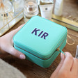 Women's Turquoise and Navy Personalised Block Initials Square Travel Jewellery Box