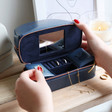 Inside of Personalised Jewellery Case and Make Up Bag in Navy