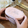 Personalised Metallic Stars Oval Travel Jewellery Box in Pink