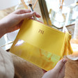 Personalised Initials Iridescent Tassel Make up Bag in Mustard Yellow