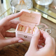Lisa Angel Pink Personalised Block Initials Petite Travel Ring Box