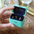 Lisa Angel Turquoise Personalised Block Initials Petite Travel Ring Box