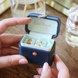 Inside of Navy and Mint Green Personalised Petite Travel Ring Box