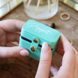 Turquoise and Navy Personalised Petite Travel Ring Box