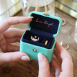 Inside of Turquoise and Navy Personalised Petite Travel Ring Box