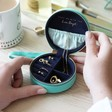 Lisa Angel Ladies' Mini Round Travel Jewellery Case in Mint Green and Navy
