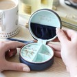 Lisa Angel Ladies' Mini Round Travel Jewellery Case in Navy and Mint Green
