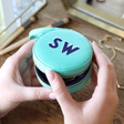 Turquoise and Navy Personalised Block Initials Mini Round Travel Jewellery Case