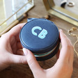 Navy and Mint Green Personalised Block Initials Mini Round Travel Jewellery Case