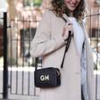 Lisa Angel Ladies' Personalised Initials Rectangular Crossbody Bags in Black