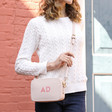 Lisa Angel Ladies' Personalised Initials Rectangular Crossbody Bags in Pink