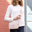 Lisa Angel Ladies' Personalised Initials Rectangular Crossbody Bags in Pink