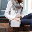Lisa Angel Ladies' Personalised Initials Rectangular Crossbody Bags in Grey