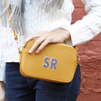 Lisa Angel Ladies' Personalised Initials Rectangular Crossbody Bags in Yellow