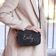 Lisa Angel Ladies' Personalised Name Rectangular Crossbody Bag in Black