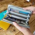 Inside of Personalised Block Initials Large Zip Around Wallet in Grey