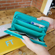 Inside of Personalised Block Initials Large Zip Around Wallet in Turquoise