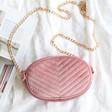 Pink Velvet Bumbag With Crossbody Strap