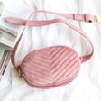 Ladies' Soft Pink Velvet Bumbag