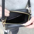 Inside of Rectangular Crossbody Bag in Black