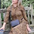 Lisa Angel Rectangular Crossbody Bag in Black on Model