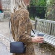 Women's Rectangular Crossbody Bag in Black on Model