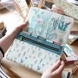 Lisa Angel Ladies' Personalised Engraved Watercolour Cactus Print Travel Wallet