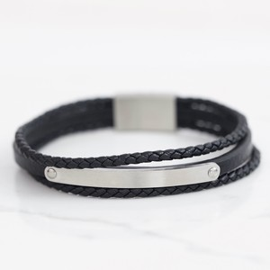 Men's Braided Black Leather Stainless Steel Plaque Bracelet - Medium