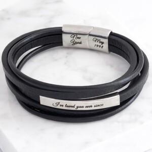 Men's Custom Black Layered Leather Stainless Steel Tube Bracelet