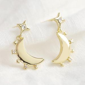 Crystal Edge Moon Drop Earrings in Gold