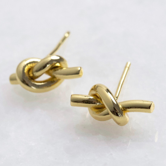 Knot Stud Earrings in Gold